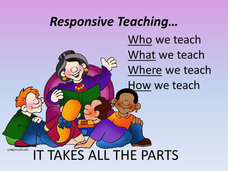 Responsive Teaching… Who we teach What we teach Where we teach How we teach IT TAKES ALL THE PARTS