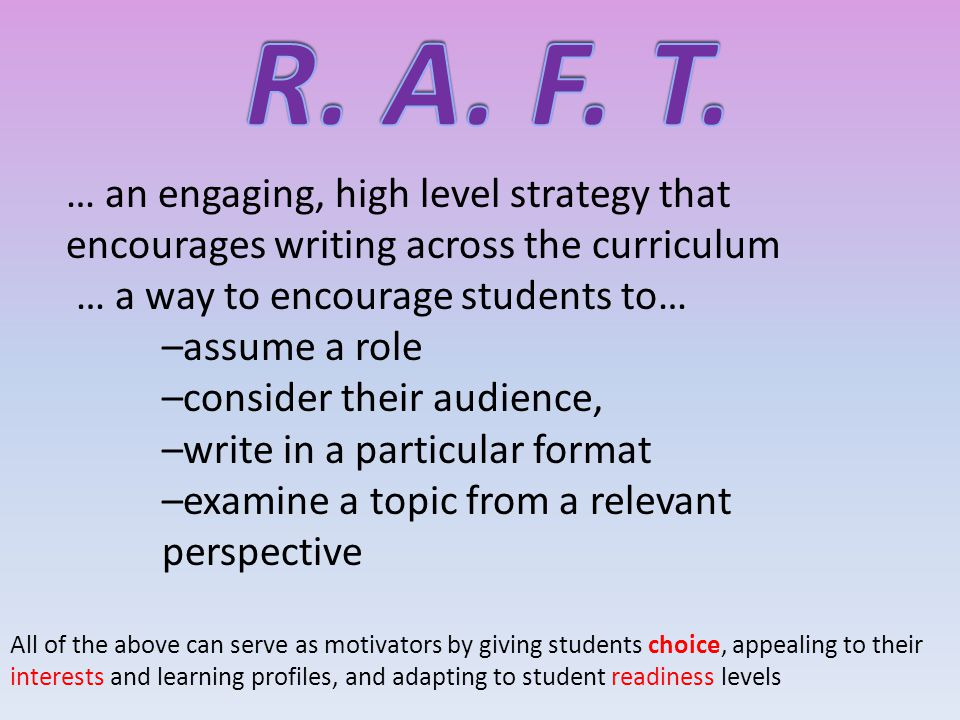 … an engaging, high level strategy that encourages writing across the curriculum … a way to encourage students to… –assume a role –consider their audience, –write in a particular format –examine a topic from a relevant perspective All of the above can serve as motivators by giving students choice, appealing to their interests and learning profiles, and adapting to student readiness levels