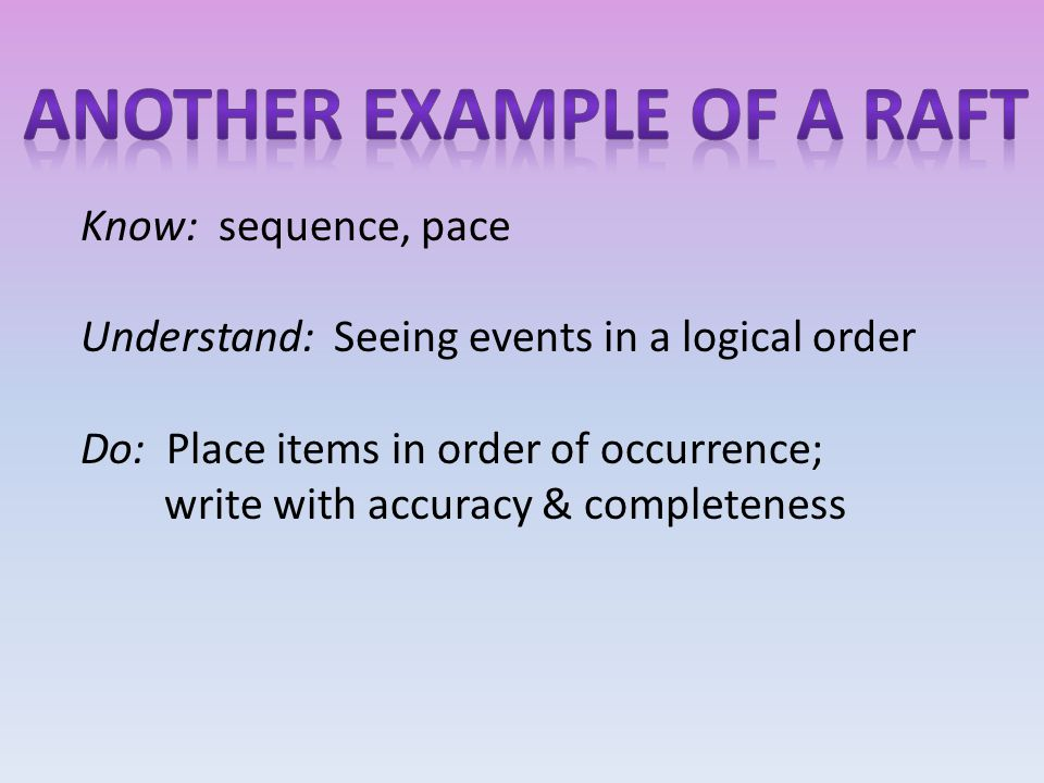 Know: sequence, pace Understand: Seeing events in a logical order Do: Place items in order of occurrence; write with accuracy & completeness