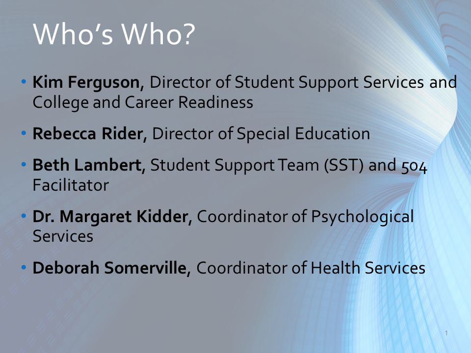 Who's Who? 1 Kim Ferguson, Director of Student Support Services and College and Career Readiness Rebecca Rider, Director of Special Education Beth Lam