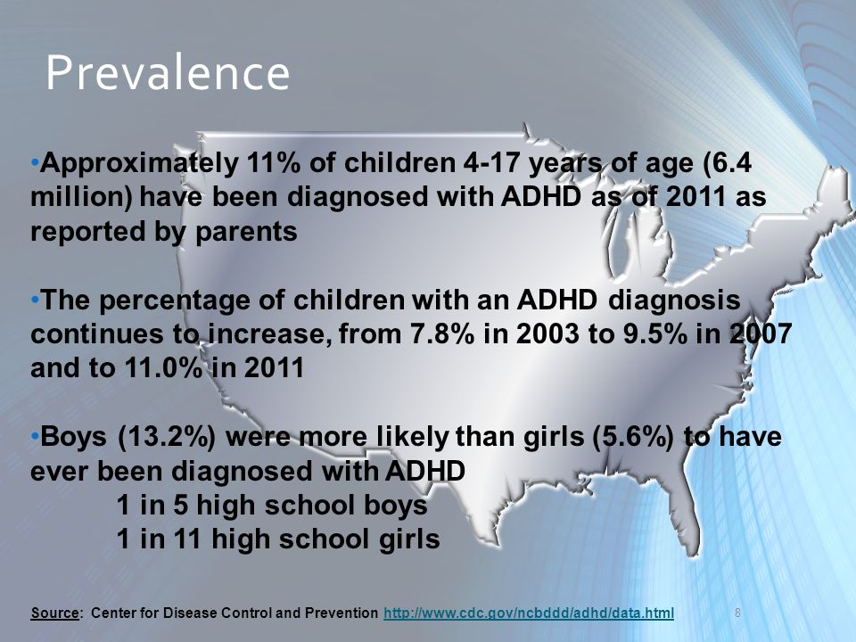 9 The average age of ADHD diagnosis was 7 years of age, but children reported by their parents as having more severe ADHD were diagnosed earlier Prevalence of ADHD diagnosis varied substantially by state, from a low of 5.6% in Nevada to a high of 18.7% in Kentucky Prevalence Source: Center for Disease Control and Prevention http://www.cdc.gov/ncbddd/adhd/data.htmlhttp://www.cdc.gov/ncbddd/adhd/data.html