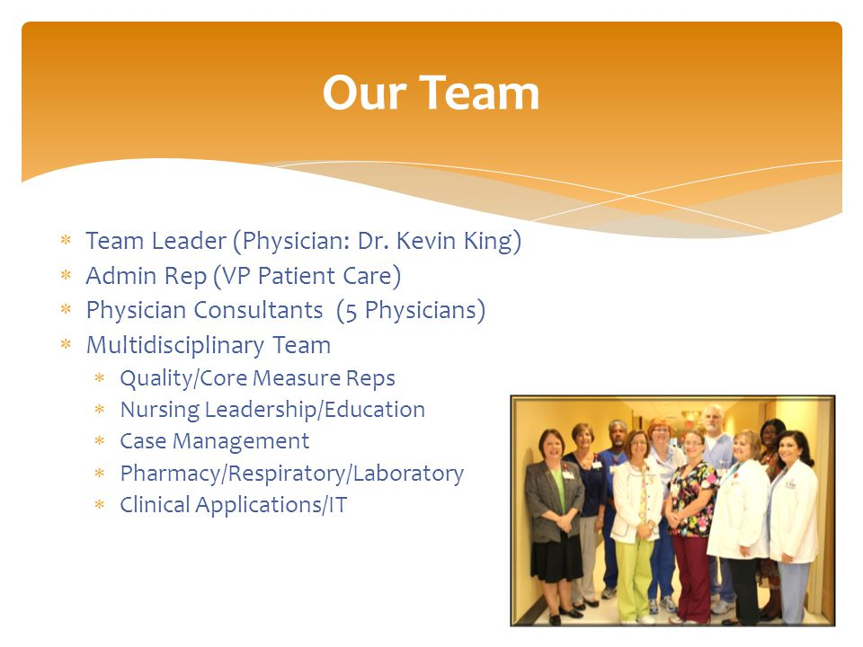  Team Leader (Physician: Dr.