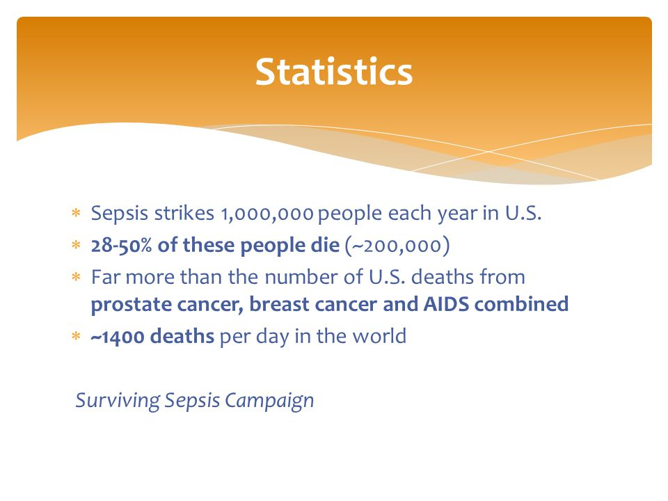 Sepsis strikes 1,000,000 people each year in U.S.  28-50% of these people die (~200,000)  Far more than the number of U.S. deaths from prostate ca