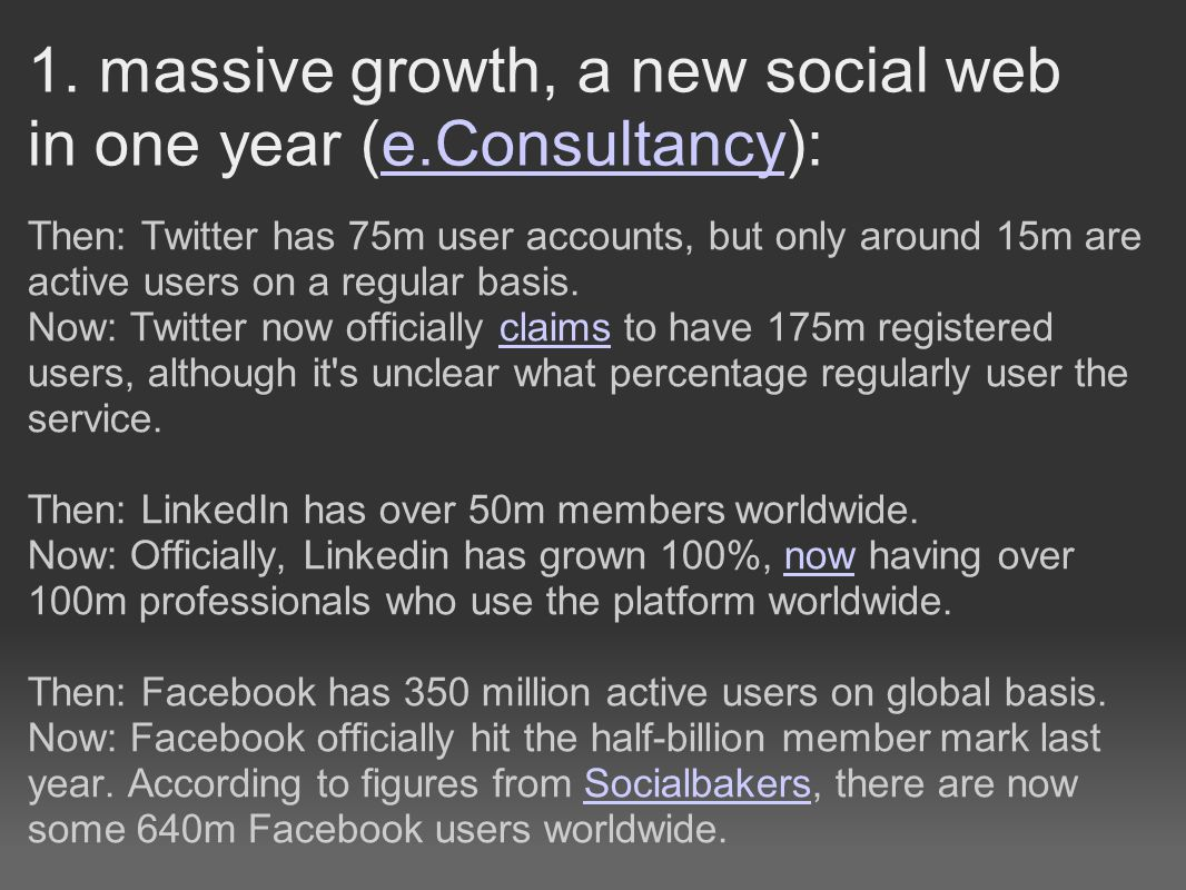 1. massive growth, a new social web in one year (e.Consultancy):e.Consultancy Then: Twitter has 75m user accounts, but only around 15m are active user