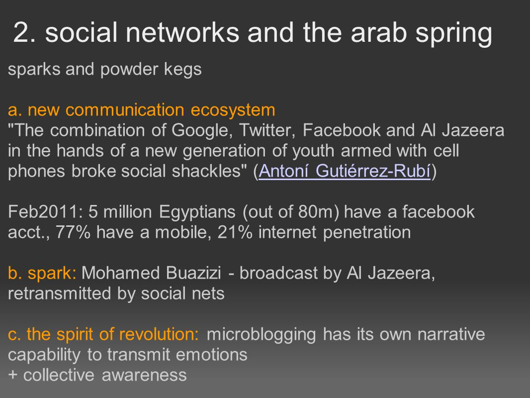 2. social networks and the arab spring sparks and powder kegs a.