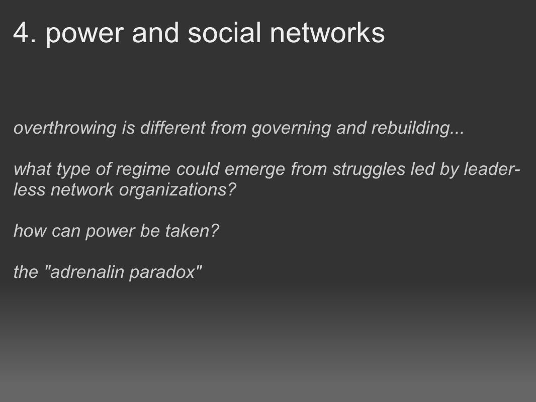4. power and social networks overthrowing is different from governing and rebuilding...
