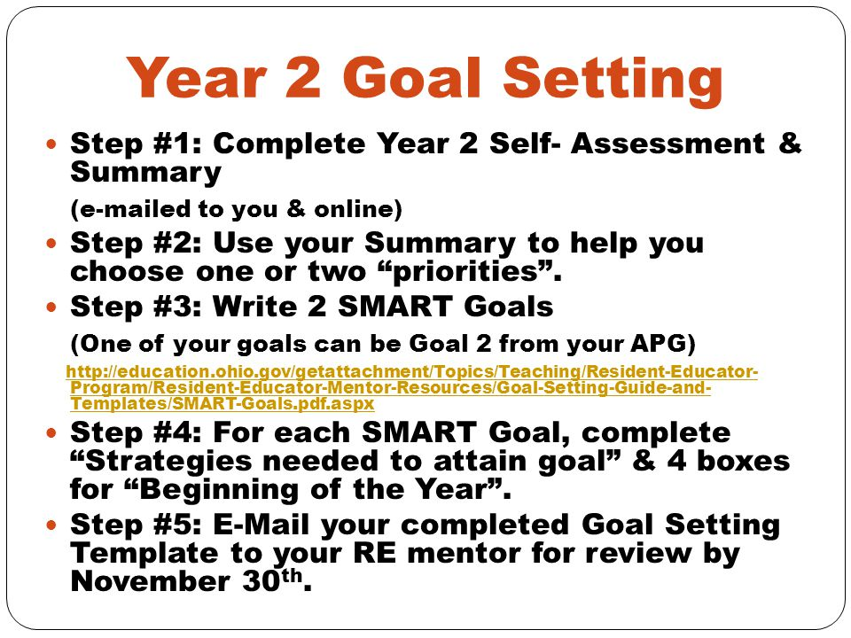 Year 2 Goal Setting Step #1: Complete Year 2 Self- Assessment & Summary (e-mailed to you & online) Step #2: Use your Summary to help you choose one or two priorities .