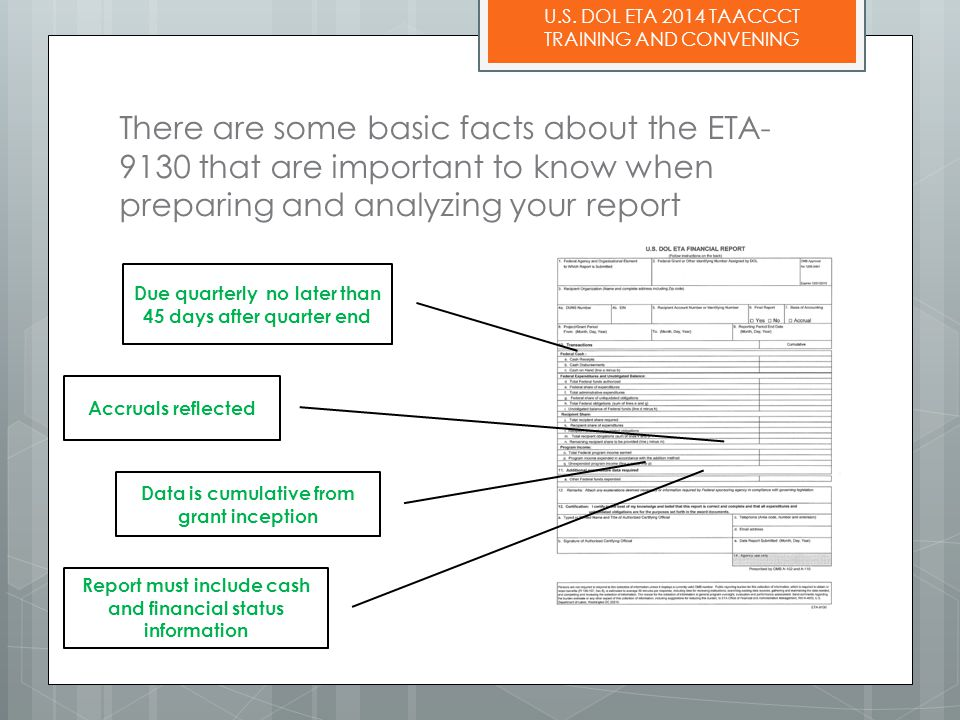 U.S. DOL ETA 2014 TAACCCT TRAINING AND CONVENING There are some basic facts about the ETA- 9130 that are important to know when preparing and analyzin