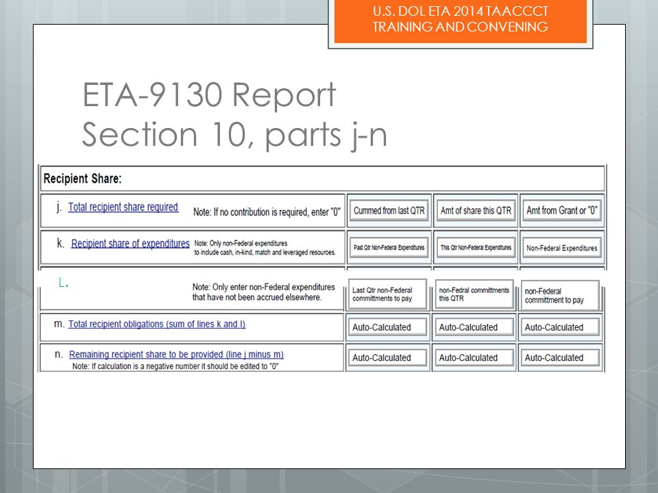U.S. DOL ETA 2014 TAACCCT TRAINING AND CONVENING ETA-9130 Report Section 10, parts j-n L.L.