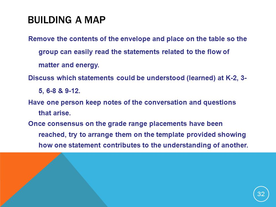 BUILDING A MAP Remove the contents of the envelope and place on the table so the group can easily read the statements related to the flow of matter and energy.