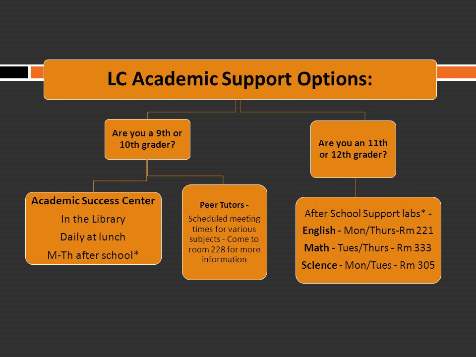 LC Academic Support Options: Are you a 9th or 10th grader? Academic Success Center In the Library Daily at lunch M-Th after school* Peer Tutors - Sche