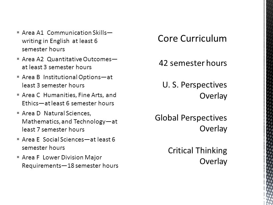  Area A1 Communication Skills— writing in English at least 6 semester hours  Area A2 Quantitative Outcomes— at least 3 semester hours  Area B Insti