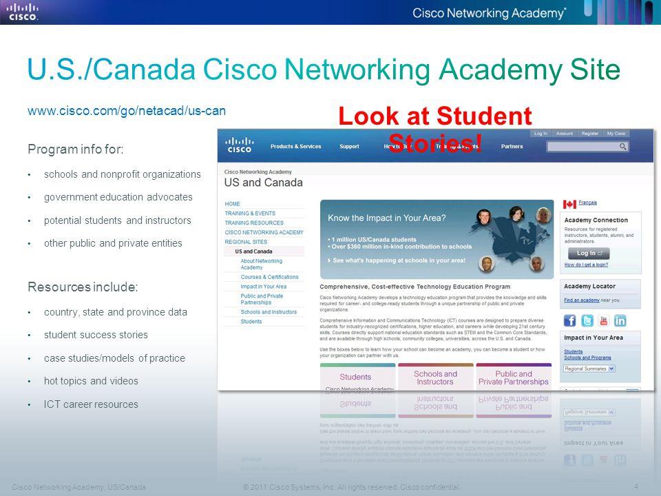 4 © 2011 Cisco Systems, Inc. All rights reserved. Cisco confidential.Cisco Networking Academy, US/Canada www.cisco.com/go/netacad/us-can Program info
