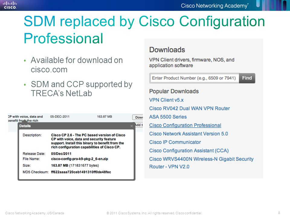 8 © 2011 Cisco Systems, Inc. All rights reserved. Cisco confidential.Cisco Networking Academy, US/Canada Available for download on cisco.com SDM and C