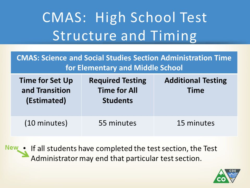 CMAS: High School Test Structure and Timing CMAS: Science and Social Studies Section Administration Time for Elementary and Middle School Time for Set Up and Transition (Estimated) Required Testing Time for All Students Additional Testing Time (10 minutes)55 minutes15 minutes If all students have completed the test section, the Test Administrator may end that particular test section.