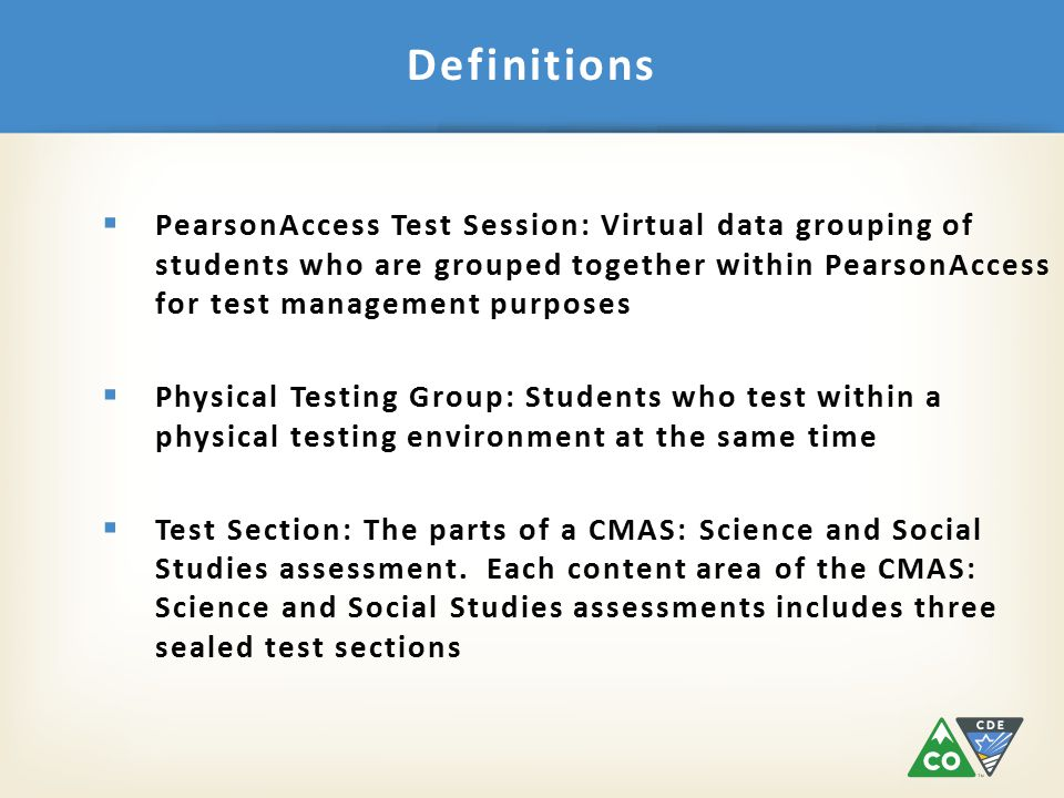  Test Administrator's Manual (TAM)  Fill in and select options for after the test session  Read script exactly as written  Practice in advance.