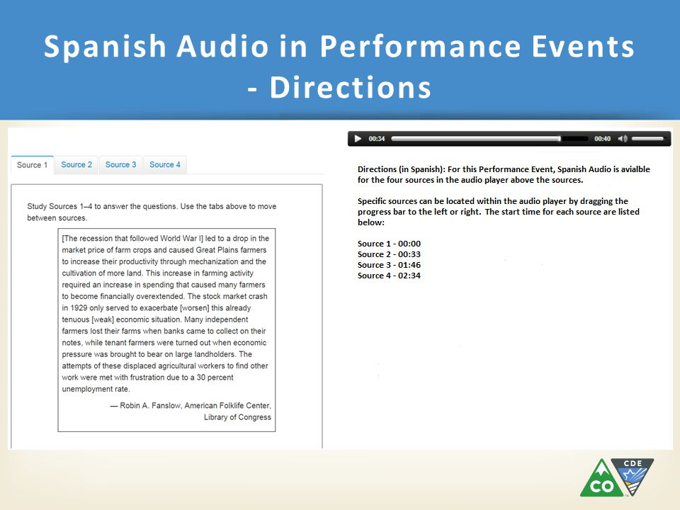Spanish Audio in Performance Events - Directions