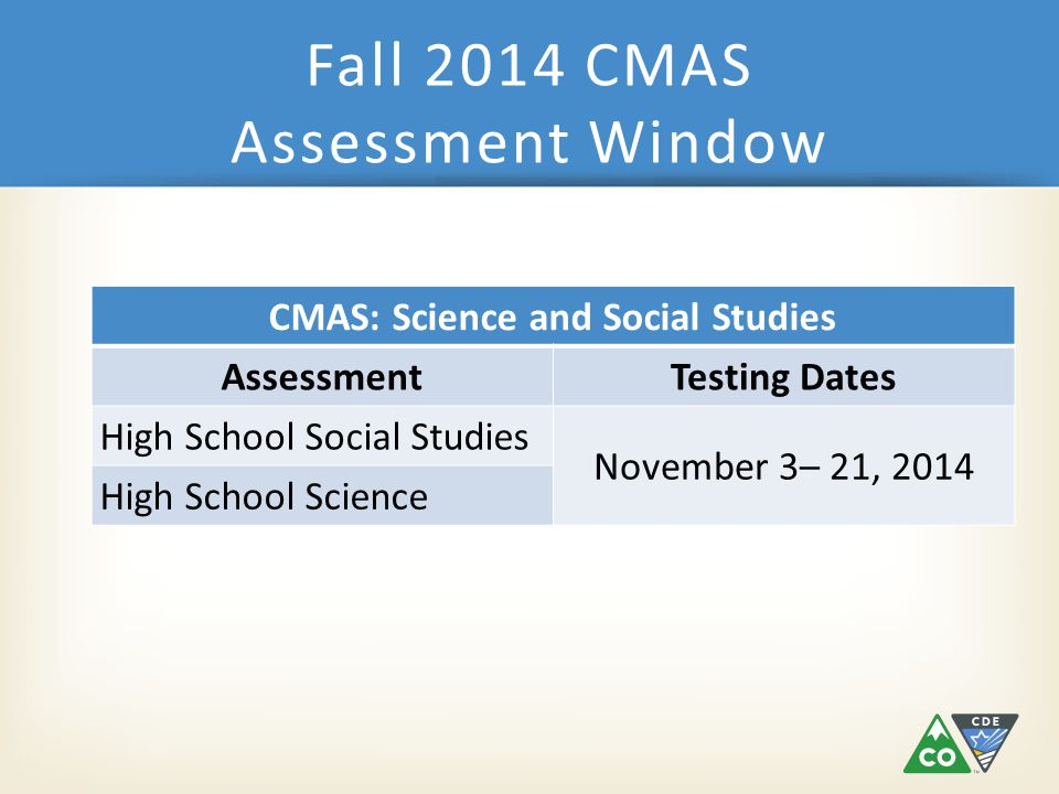 Fall 2014 Tentative Dates DateDescriptionRole Early September – October 9 Submit Student Data Uploads/update participation counts for initial orders DAC/Student Enrollment Mid SeptemberOnline test session set-up beginsDAC/SAC October 20Materials scheduled to arrive in districtsDAC October 27Proctor caching test content begins (prior to testing)SAC October 21 – November 18 Additional Orders – Secure MaterialsDAC October 21 – November 25 Additional Orders – Non-Secure MaterialsDAC November 3 – November 21 Student TestingALL December 1Deadline to schedule UPS pickupsDAC December 3Deadline for UPS pickupsDAC