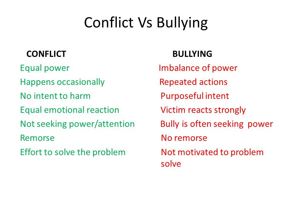 Conflict Vs Bullying CONFLICT BULLYING Equal power Imbalance of power Happens occasionally Repeated actions No intent to harm Purposeful intent Equal