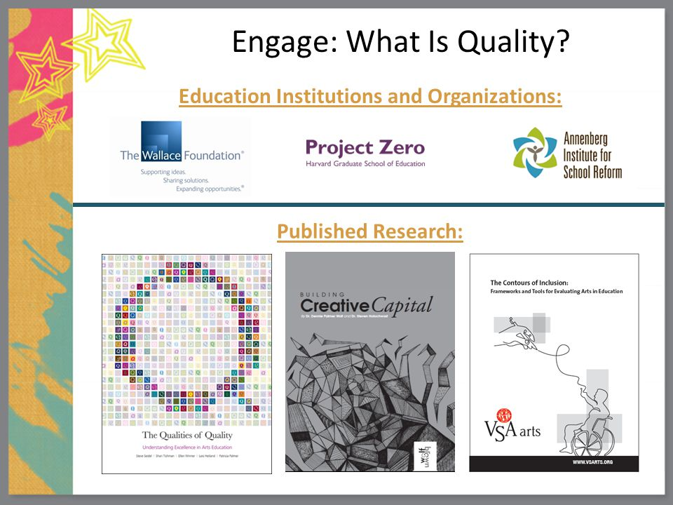 Engage: What Is Quality? Published Research: Education Institutions and Organizations: