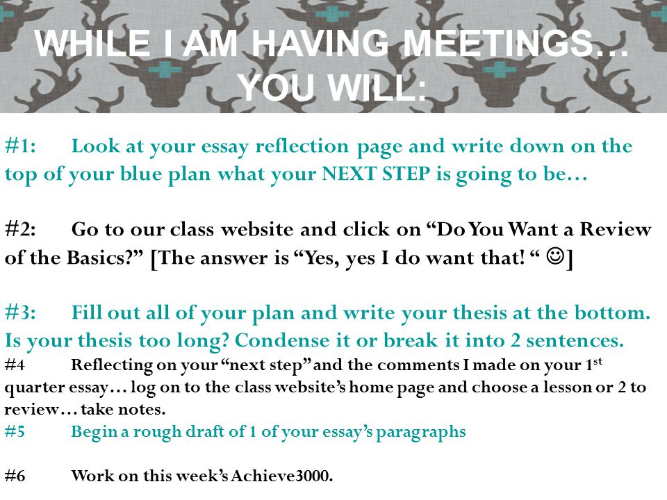 #1:Look at your essay reflection page and write down on the top of your blue plan what your NEXT STEP is going to be… #2:Go to our class website and c