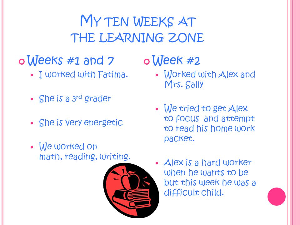 M Y TEN WEEKS AT THE LEARNING ZONE Week #3 Worked with Jordan.