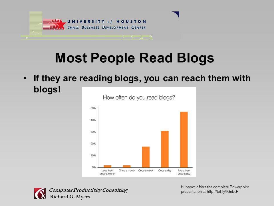 Most People Read Blogs If they are reading blogs, you can reach them with blogs.
