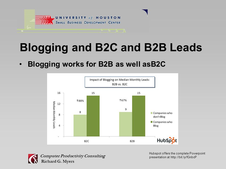 Blogging and B2C and B2B Leads Blogging works for B2B as well asB2C Computer Productivity Consulting Richard G.