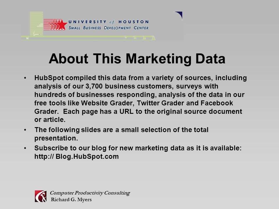 About This Marketing Data Computer Productivity Consulting Richard G.
