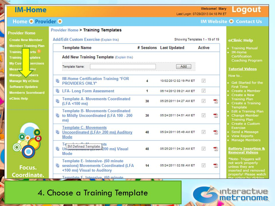 4. Choose a Training Template