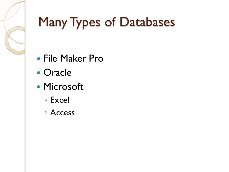 Many Types of Databases File Maker Pro Oracle Microsoft ◦ Excel ◦ Access