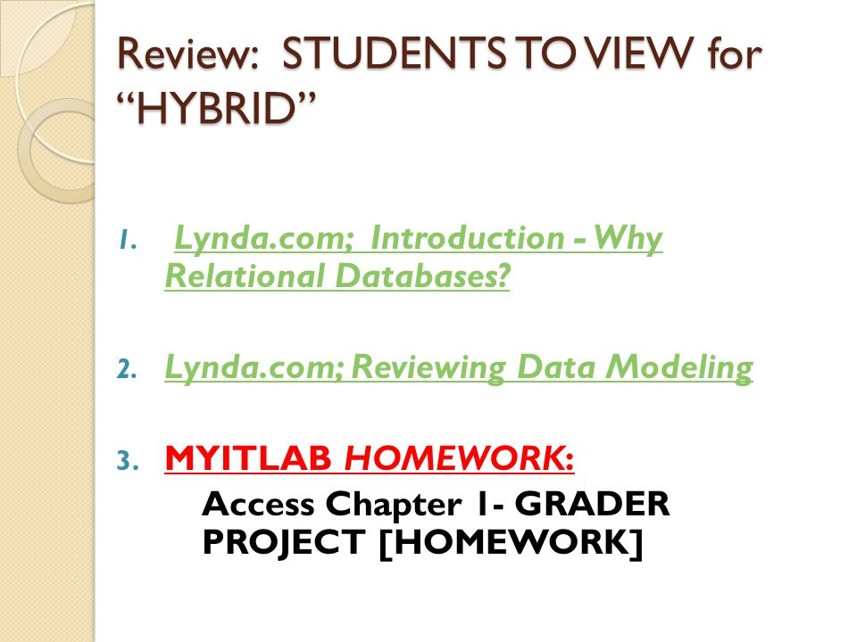 Review: STUDENTS TO VIEW for HYBRID 1.