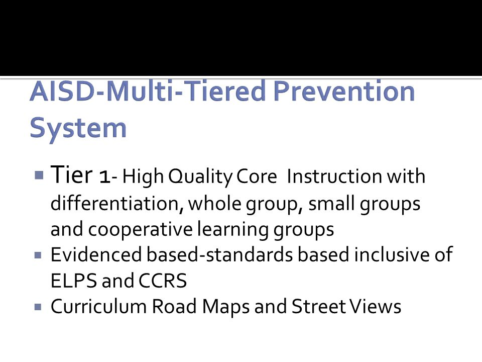  Tier 1 - High Quality Core Instruction with differentiation, whole group, small groups and cooperative learning groups  Evidenced based-standards based inclusive of ELPS and CCRS  Curriculum Road Maps and Street Views