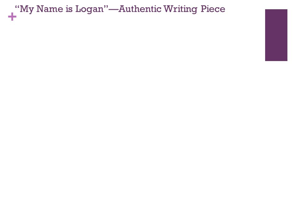 + My Name is Logan —Authentic Writing Piece
