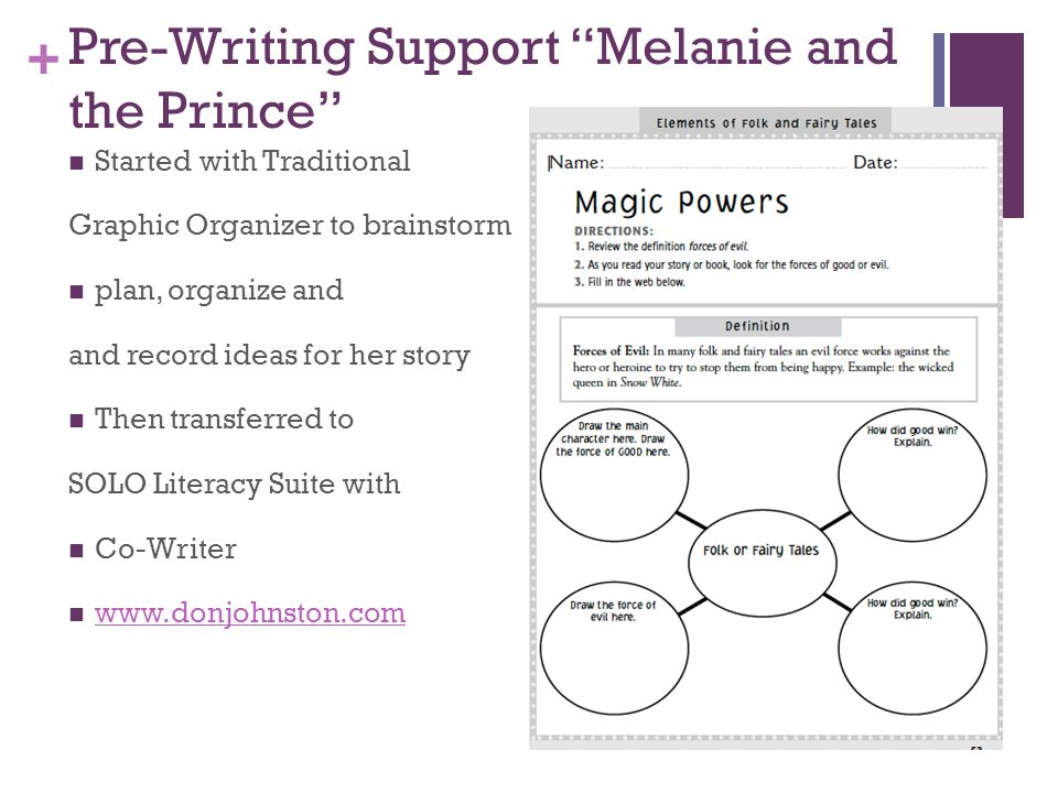 + Pre-Writing Support Melanie and the Prince Started with Traditional Graphic Organizer to brainstorm plan, organize and and record ideas for her story Then transferred to SOLO Literacy Suite with Co-Writer www.donjohnston.com Setting