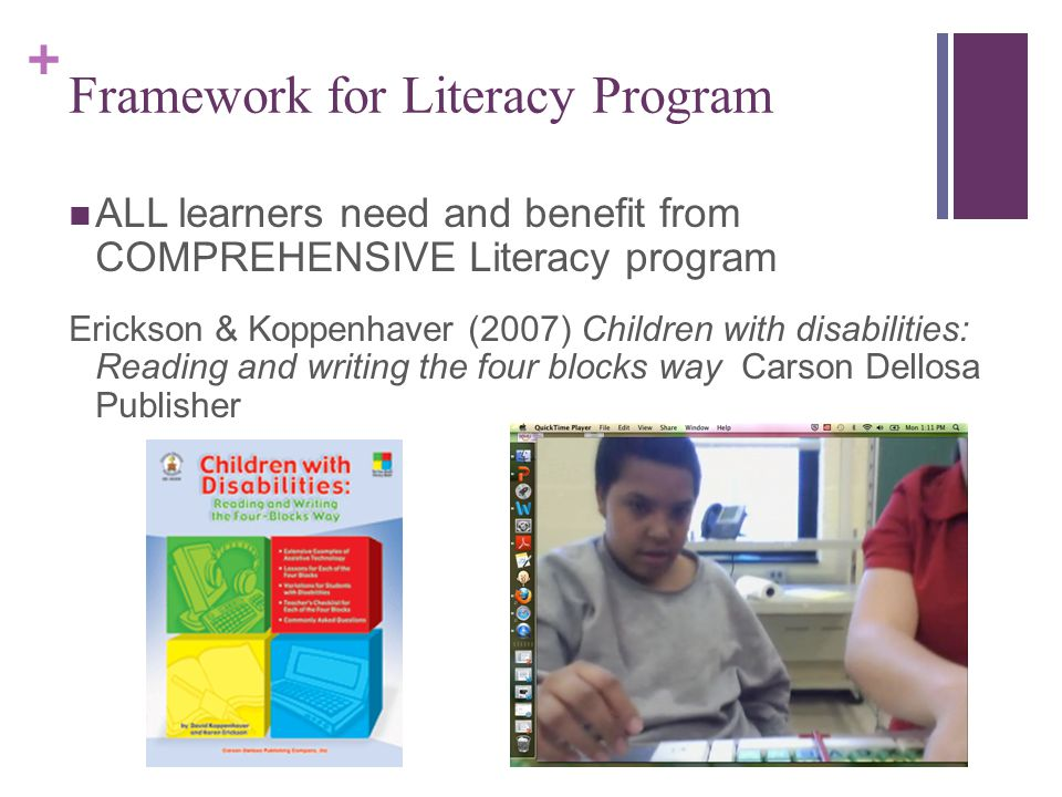+ Framework for Literacy Program ALL learners need and benefit from COMPREHENSIVE Literacy program Erickson & Koppenhaver (2007) Children with disabilities: Reading and writing the four blocks way Carson Dellosa Publisher