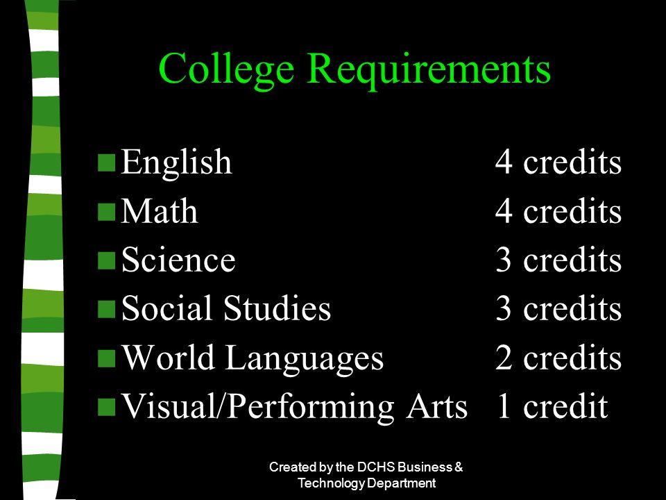 Created by the DCHS Business & Technology Department College Requirements English4 credits Math4 credits Science3 credits Social Studies3 credits World Languages2 credits Visual/Performing Arts1 credit