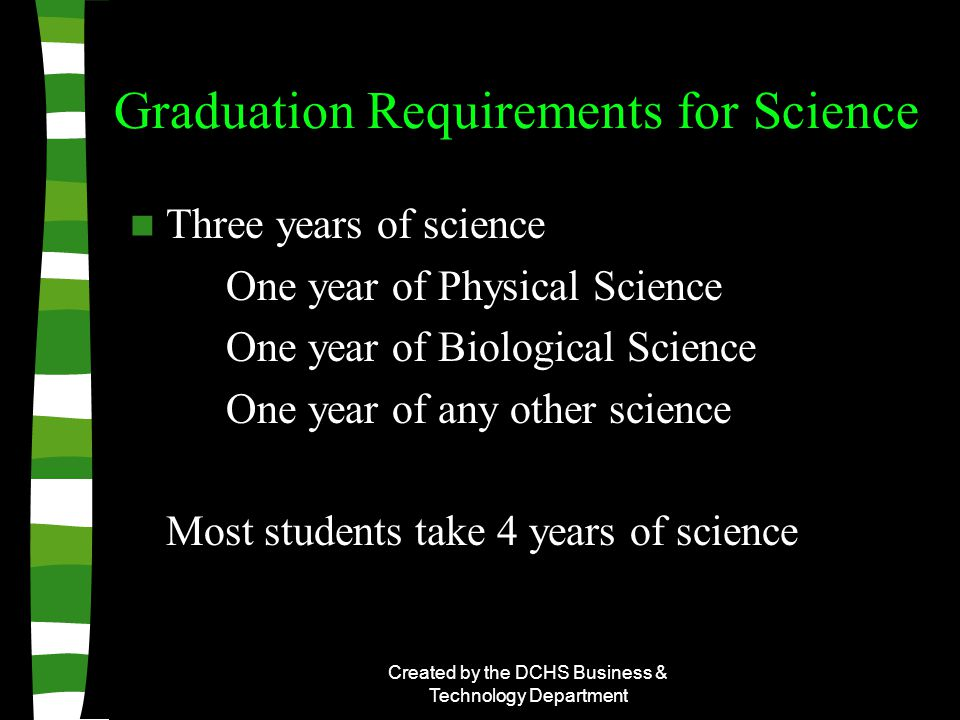 Created by the DCHS Business & Technology Department Graduation Requirements for Science Three years of science One year of Physical Science One year of Biological Science One year of any other science Most students take 4 years of science