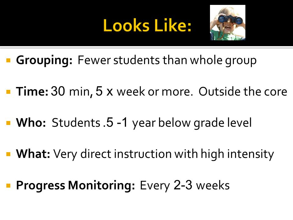  Grouping: Fewer students than whole group  Time: 30 min, 5 x week or more. Outside the core  Who: Students.5 -1 year below grade level  What: Ver