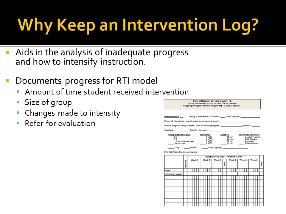  Aids in the analysis of inadequate progress and how to intensify instruction.  Documents progress for RTI model  Amount of time student received i
