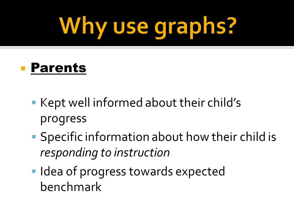  Parents  Kept well informed about their child's progress  Specific information about how their child is responding to instruction  Idea of progre