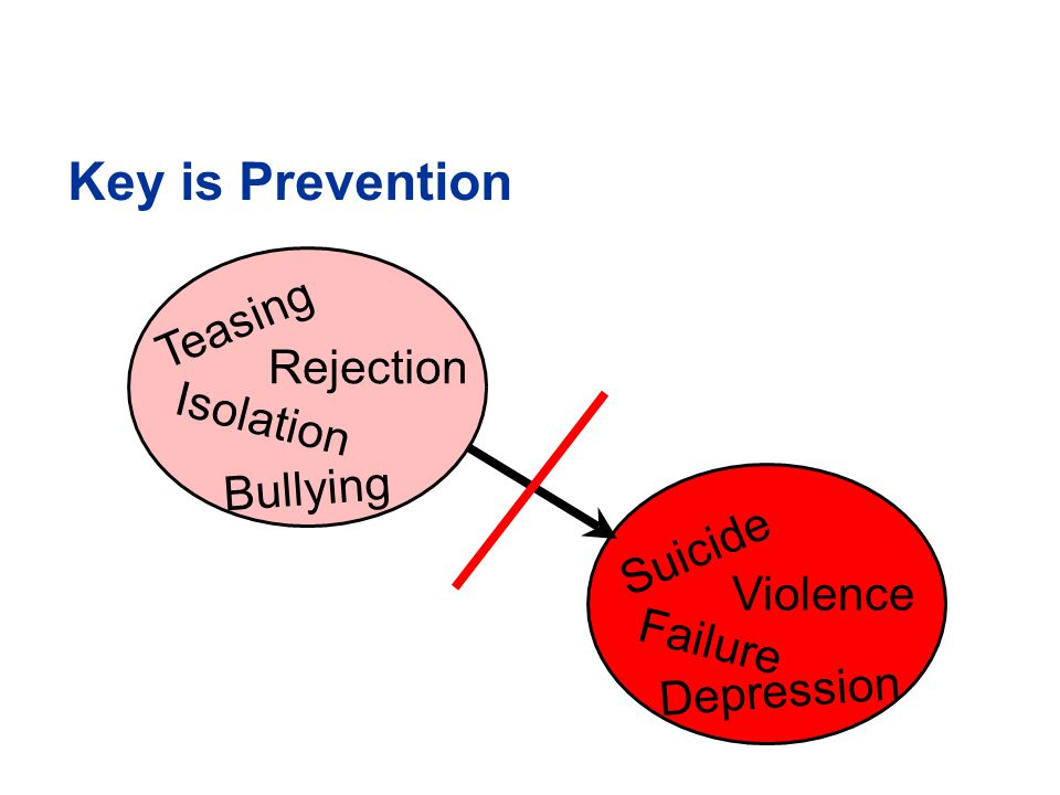 Key is Prevention Teasing Bullying Rejection Isolation Suicide Depression Violence Failure