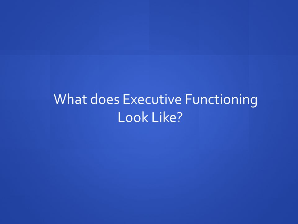 What does Executive Functioning Look Like?
