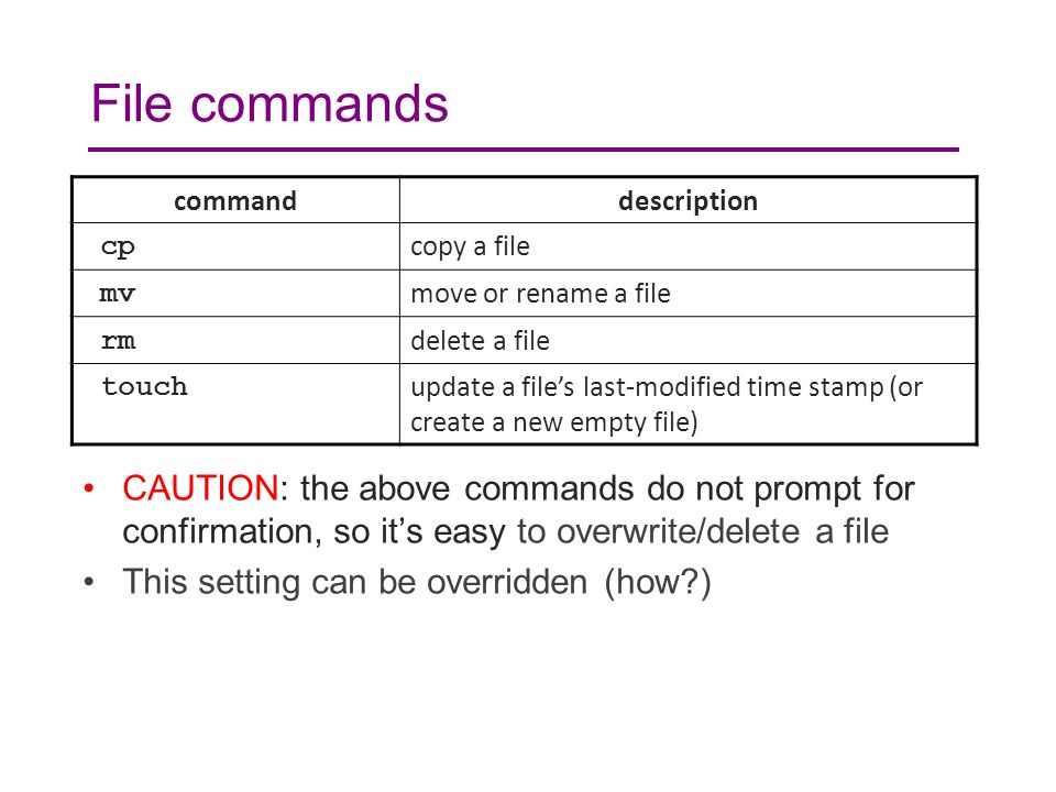 File commands CAUTION: the above commands do not prompt for confirmation, so it's easy to overwrite/delete a file This setting can be overridden (how?