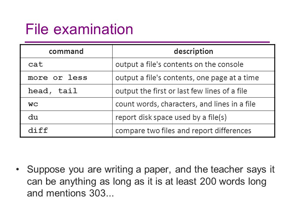 File examination Suppose you are writing a paper, and the teacher says it can be anything as long as it is at least 200 words long and mentions 303...