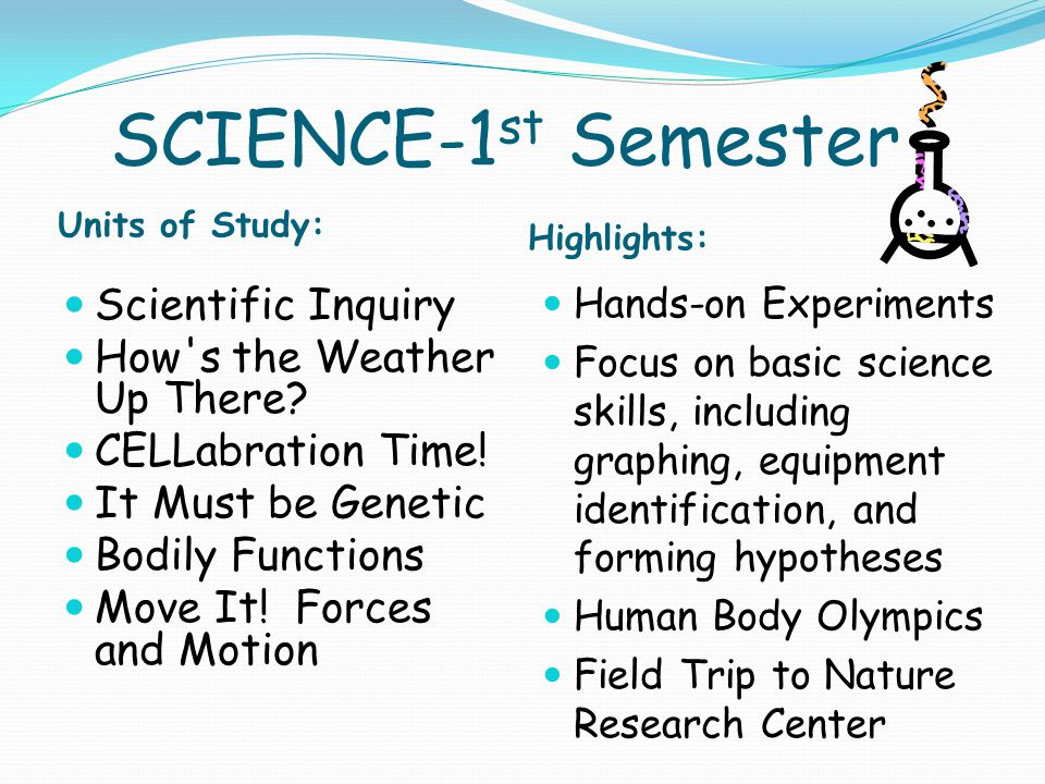 SCIENCE-1 st Semester Units of Study: Highlights: Scientific Inquiry How s the Weather Up There.