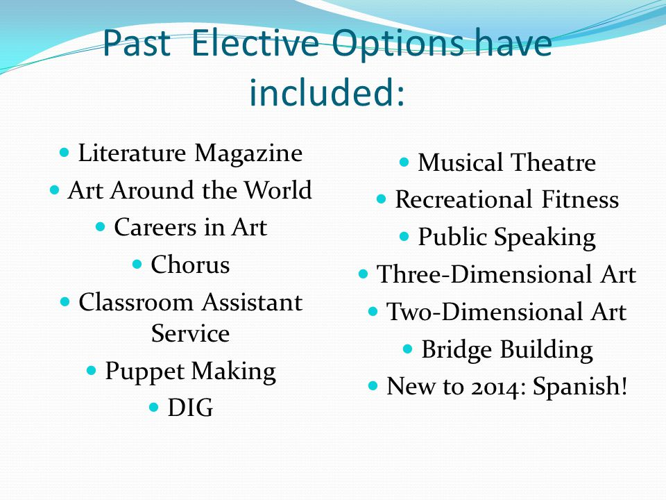 Past Elective Options have included: Literature Magazine Art Around the World Careers in Art Chorus Classroom Assistant Service Puppet Making DIG Musical Theatre Recreational Fitness Public Speaking Three-Dimensional Art Two-Dimensional Art Bridge Building New to 2014: Spanish!