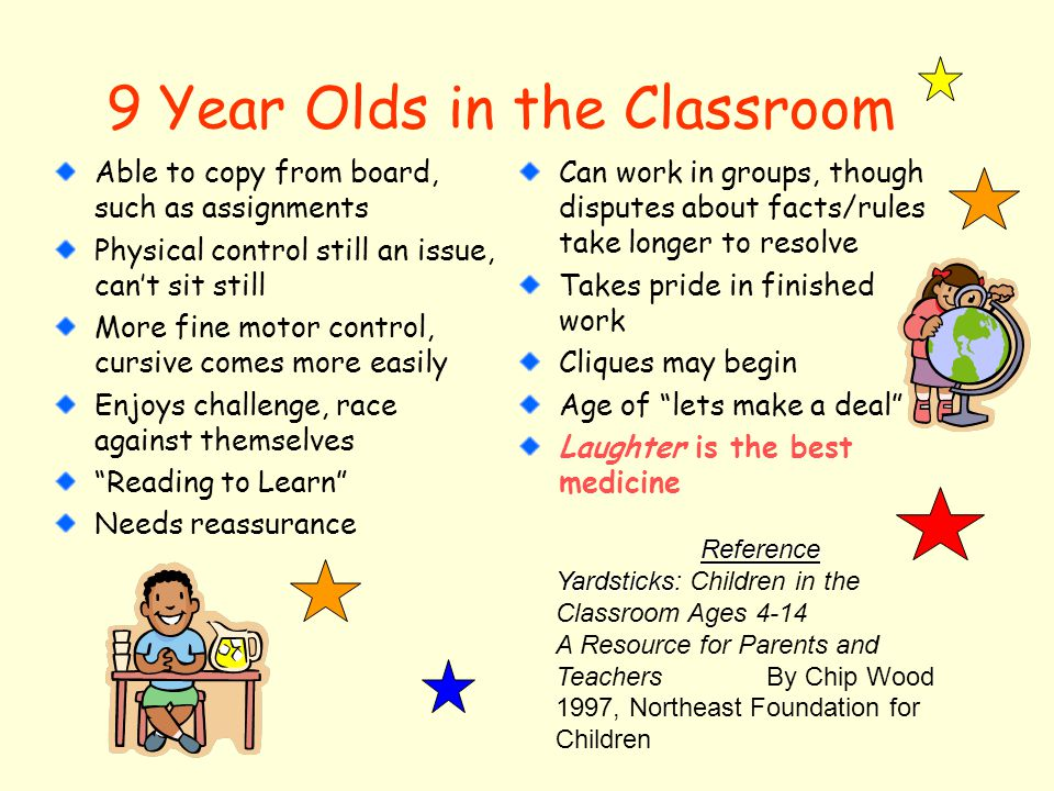 9 Year Olds in the Classroom Able to copy from board, such as assignments Physical control still an issue, can't sit still More fine motor control, cursive comes more easily Enjoys challenge, race against themselves Reading to Learn Needs reassurance Can work in groups, though disputes about facts/rules take longer to resolve Takes pride in finished work Cliques may begin Age of lets make a deal Laughter is the best medicine Reference Yardsticks: Yardsticks: Children in the Classroom Ages 4-14 A Resource for Parents and TeachersBy Chip Wood 1997, Northeast Foundation for Children