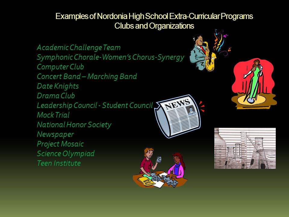 Examples of Nordonia High School Extra-Curricular Programs Clubs and Organizations Academic Challenge Team Symphonic Chorale-Women's Chorus-Synergy Computer Club Concert Band – Marching Band Date Knights Drama Club Leadership Council - Student Council Mock Trial National Honor Society Newspaper Project Mosaic Science Olympiad Teen Institute