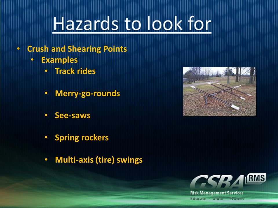 Crush and Shearing Points Examples Track rides Merry-go-rounds See-saws Spring rockers Multi-axis (tire) swings